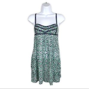 Free People Floral Print Blue Green Sundress